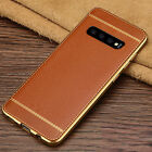 For Samsung Galaxy S10 Plus Luxury Slim Leather Rubber Shockproof TPU Case Cover