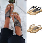 Womens Ladies Diamante Flip Flops Slingback Summer Slipper Casual Shoes Size 6-9