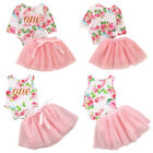 Flower First Birthday Romper with Skirt Clothes Outfits for Baby Girls Toddler