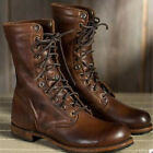 Retro Mens Leather Biker Combat Boots Military Army Mid Calf Boot Shoes Punk Hot