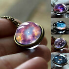 Solar System Universe Galaxy Necklace Vintage Star Moon Style Glass Ball Pendant