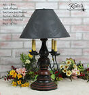 Katie's Liberty Table Lamp with Punched Tin Shade 4 Arm - Rustic Country Colors