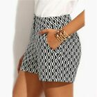 Summer Black & White Women Plaid Shorts Mid Waist Pocket Straight Ladies Shorts