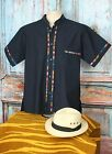 Latin American Men's Guayabera Shirt Midnight Blue Mandarin Collar Mexico Casual
