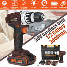 "36V 1/2"" 3In1 Electric Cordless Drill 18+1 LED Power Screw Driver+Li-Ion Battery"