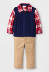 Baby Boy 3 Piece Plaid Flannel Shirt Navy Vest Khaki Pants - NWT 3-6 or 12 Month
