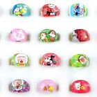 100X Wholesale Mixed Lots Kids Resin Lucite Rings Cartoon Children Ring Jewelry