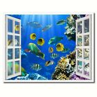 Tropical Island Fish Picture French Window White Framed Canvas Print Home Decor