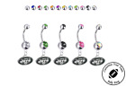 New York Jets Silver Belly Button Navel Ring - Customize Gem Color - NEW $9.99 USD on eBay