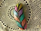 HAND PAINTED SPARKLIE LEAF ROCK. AWESOME COLORS ALL ON OF A KIND. GREAT GIFT TOO