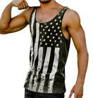 Men Athletic Gym Sports Vest Sleeveless Flag Print Tops Fashion Comfort hmk