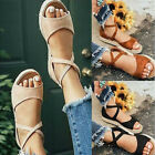 Womens Open Toe Sandals Summer Beach Roman Slippers Non-slip Casual Buckle Shoes