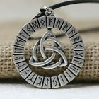 Nordic Viking Rune Amulet Pendant Necklace Antique Silver Bronze Jewelry Gift