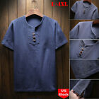 Mens Baggy T-Shirt Cotton Linen Tee Hippie Shirts Blouse short Sleeve Yoga Tops image