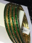 """A Pair of Gold Plated set of 4 Channel set Emerald Bangles Size 2.8"""""""