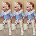 US Infant Toddler Baby Girls Clothes T-shirt Tops+Floral Pants+Headband Outfits