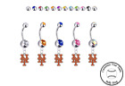 New York Mets Silver Belly Button Navel Ring - Customize Gem Color - NEW on Ebay
