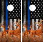 Cornhole Wraps Police Flag Thin Blue Line with Nature Scene with Deer 2pack 05