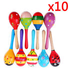 10pcs Wooden Maraca Rattles Musical Instrument Baby Shaker Toy Kids Party Toys