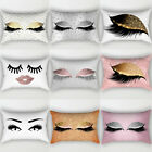 Eyelash Pillow Case Cotton Linen Sofa Throw Cushion Cover Home Decor image