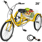 "20/24/26"" Adult Tricycle 1/7 Speed 3-Wheel Large Basket For Shopping Optional <br/> ✨ Multiple speed✨ Shimano Drivetrain✨ Quality Assurance"