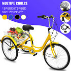 20/24/26' Adult Tricycle 1/7 Speed 3-Wheel Large Basket For Shopping Optional
