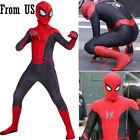 US SHIP Kids Spider Man Far From Home Peter Zentai Bodysuit Holiday Boys Costume