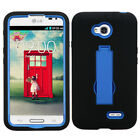 Impact Rubberized Case Protector +Stand for LG VS450PP Exceed2 MS323 Optimus L70