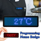 Mini LED Name Tag Business Badge Rechargeable Programmable Badge Sign Blue/Red