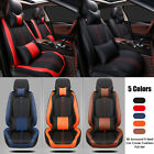 3D Auto Car Seat Cover Black 5 Seats Front+Rear w/Pillow Set Luxury SUV Cushion
