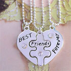 3 Part BFF Break Heart Pendent Necklaces Friendship Best Friends Forever Love