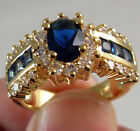 1.0/ct Blue Sapphire White CZ Wedding Ring 10KT Yellow Gold Filled Jewelry image