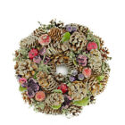 "10"" Sugared Purple and Red Pine Cone and Berries Artificial Christmas Wreath - U"