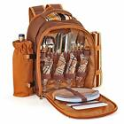 Picnic Backpack Kit Set for 2/4 Person With Cooler Compartment Detachable Bottle