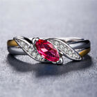 Gorgeous 925 Silver Rings for Women Marquise Cut Garnet Wedding Ring Size 7