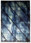 Blue Wool Rug 5 x 8 Striped Shades of Blue New Modern Genuine Hand-knotted Rug