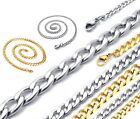 """4-8mm 18-30"""" Mens Womens Children Unisex Silver Gold Curb Link Chain Necklace"""