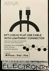 Ativa Flat Lightning Cable, 6ft., NEW IN BOX A MUST HAVE ON THE GO FOR IPHONES