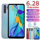 "P30 Pro 6.28"" Smartphone Drop Screen 6+64G 8+13MP Face Fingerprint Recognition"
