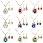 Red/Blue/Green Crystal Gold Plated Necklace Earrings Jewellery Sets UK Stock