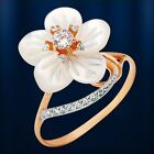 Mother of pearl CZ flower RING ussian solid rose gold 585/14k Beautiful NWT