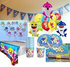 BABY SHARK PARTY DECORATIONS ~ Balloons Plates Cups Napkins Tattoo Sheets Bags