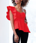 Ashro Red Summer Party Lula Top Blouse One Shoulder Ruffle Size 10 12 14 16 18W