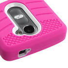 For LG Leon Hybrid +Silicone Protector Cover Case +Built In Kick Stand