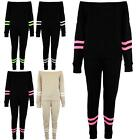 Ladies Off The Shoulder Loungewear Womens Bardot Knitted Stripes Tracksuit Set