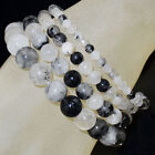 Handmade Natural 4mm 6mm 8mm 10mm Gemstone Round Beads Stretch Bracelet