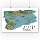 Acadia National Park, Maine - Line Drawing (Art Posters, Wood & Metal Signs)