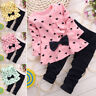 2pcs Toddler Kids Baby Girls Heart Print Tops Pants Leggings Outfits Clothes BD