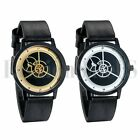 Men's Women's Simple Gear Analog Dial Quartz Dress Wrist Watch Leather Band New image