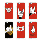 Mickey mouse hand gesture soft case for iPhone XS 8 7 6 Plus 5 Samsung S8 S9 S10